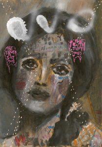 Sam Jackson   Whisper In The Wings   2019   Oil, spray paint, marker, pencil on board   32×22.5cm