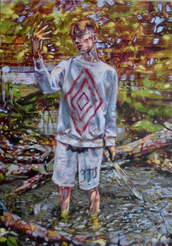 "Dominic Shepherd | ""He's a god, he's a man, he's a ghost, he's a guru"" (Red Right Hand) | 2020 | Oil on linen | 64x45cm"