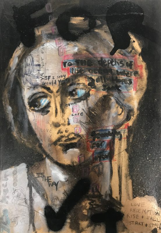 Sam Jackson | Love and Redemption, Rise and Fall | 2020 | Oil, marker, pencil, spray paint on board | 32x22cm