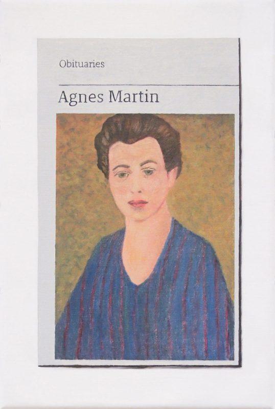 Hugh Mendes | Obituary: Agnes Martin | 2019 | Oil on linen | 30x20cm