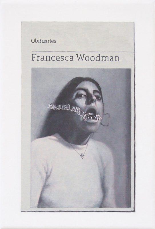 Hugh Mendes | Obituary: Francesca Woodman | 2019 | Oil on linen | 30x20cm