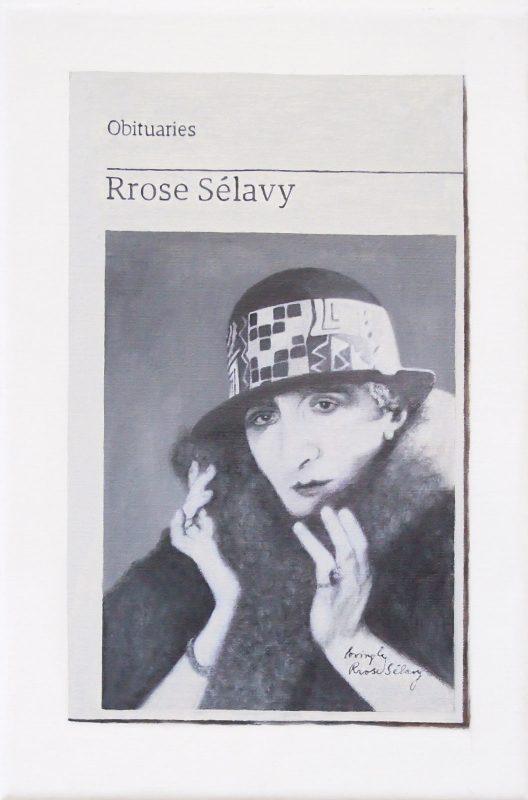 Hugh Mendes | Obituary: Rrose Sélavy | 2019 | Oil on linen | 30x20cm