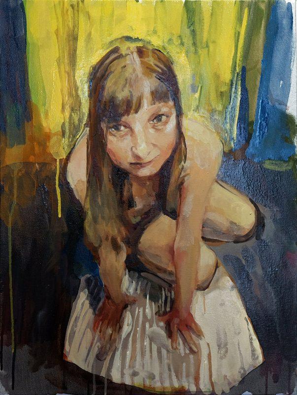 Geraldine Swayne   Model and Yellow   2020   Enamel on canvas   61x46cm