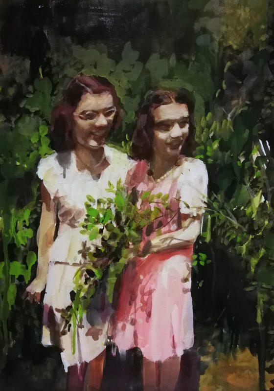 Geraldine Swayne   Mediums   2020   Enamel on canvas   42x30cm