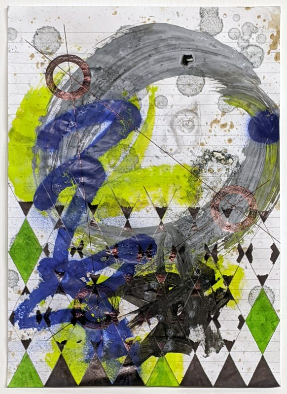 Zavier Ellis   Constellations I   2020   Oil, acrylic, spray paint, marker, biro, pencil on paper   29.7x21cm