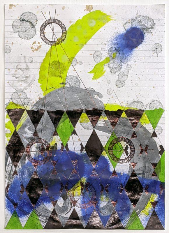 Zavier Ellis   Constellations II   2020   Oil, acrylic, spray paint, marker, biro, pencil on paper   29.7x21cm