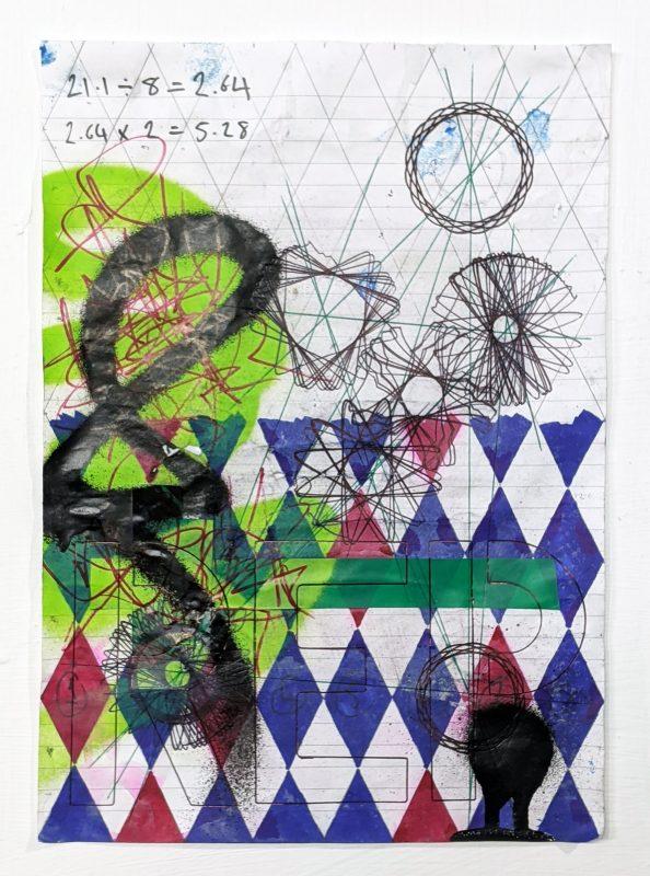 Zavier Ellis   Revolt Repeat III   2020   Spray paint, marker, biro, pencil, electrical tape on paper   29.7x21cm