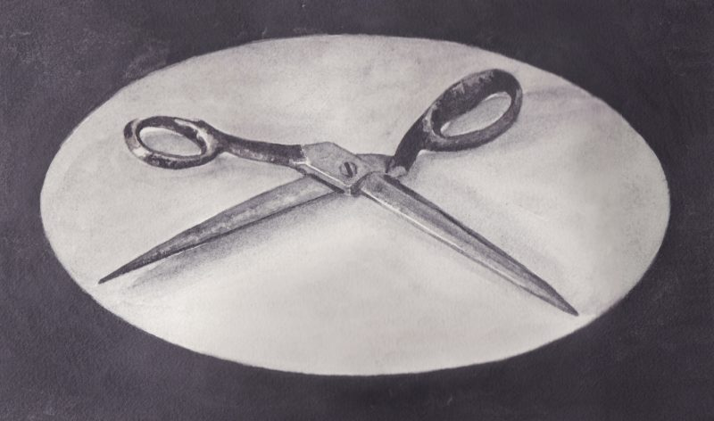 Richard Moon | Scissors III | 2020 | Water soluble graphite on paper | 21x34cm