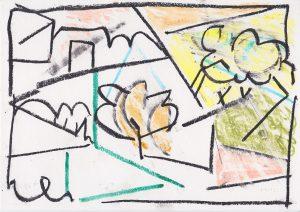 Kiera Bennett   Outside   2020   Oil pastel on paper   21×29.7cm