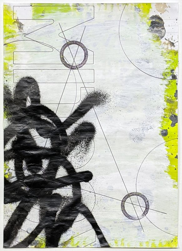 Zavier Ellis   Revolutions I   2020   Acrylic, emulsion, spray paint, biro on paper   29.7x21cm