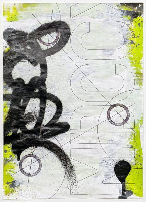 Zavier Ellis   Revolutions II   2020   Acrylic, emulsion, spray paint, biro on paper   29.7x21cm
