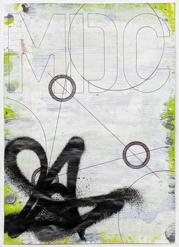 Zavier Ellis   Revolutions IV   2020   Acrylic, emulsion, spray paint, biro on paper   29.7x21cm