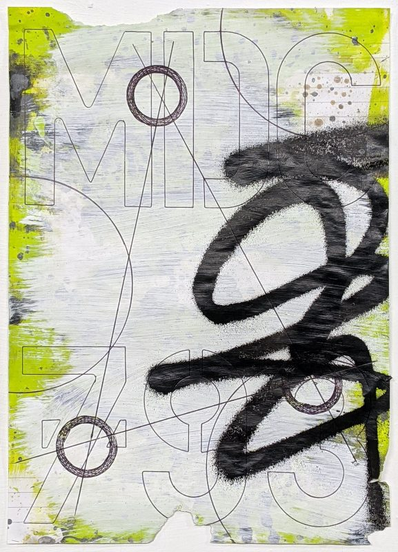 Zavier Ellis   Revolutions V   2020   Acrylic, emulsion, spray paint, biro on paper   29.7x21cm