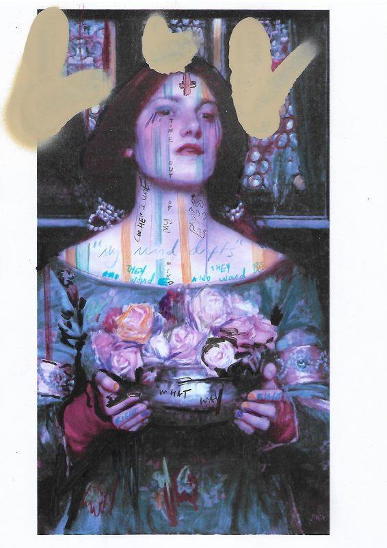 Sam Jackson | Chronicles 138-X | 2020 | Spray paint, ink, pencil on paper | 29.7x21cm