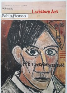 Hugh Mendes | Picasso: Lockdown Art | 2020 | Ink, pencil, coloured pencil on digital print | 29.7x21cm