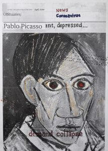 Hugh Mendes | Picasso: ant, depressed… | 2020 | Ink, pencil, coloured pencil on digital print | 29.7x21cm