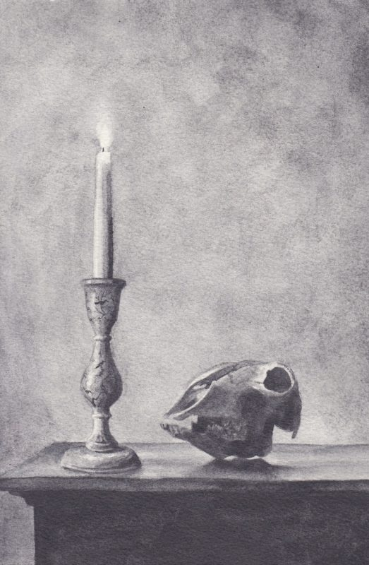 Richard Moon | Still Life with Goat's Skull and Candle | 2020 | Water soluble graphite on paper | 27x18cm