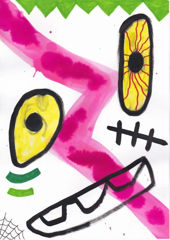 Alex Gene Morrison   Bolted & Bloodshot   2020   Ink, watercolour, marker pen on paper   29.7x21cm