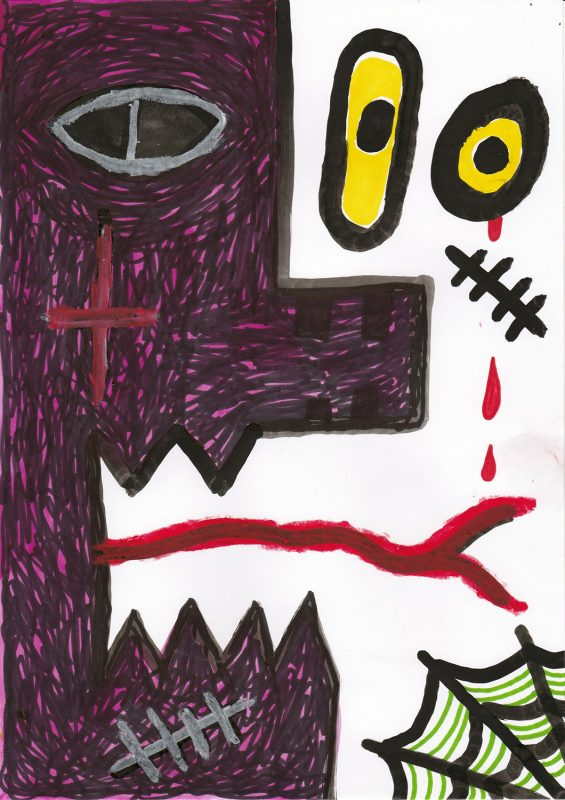 Alex Gene Morrison   No Mercy   2020   Ink, marker pen, oil pastel on paper   29.7x21cm