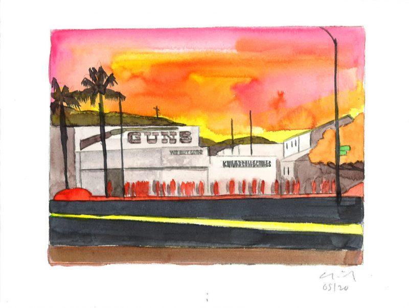 David Risley | Gun Store 1 | 2020 | Watercolour on Fabriano paper | 23x31cm