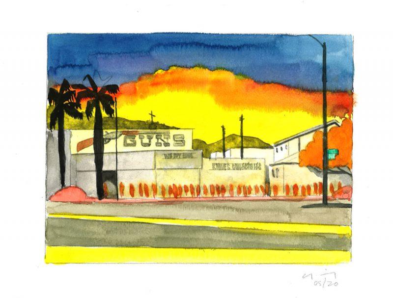 David Risley | Gun Store 2 | 2020 | Watercolour on Fabriano paper | 23x31cm