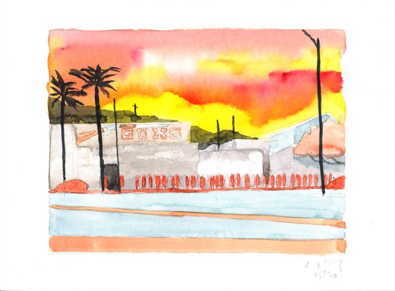 David Risley | Gun Store 3 | 2020 | Watercolour on Fabriano paper | 24x32cm