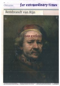 Hugh Mendes | Rembrandt: for extraordinary | 2020 | Ink, pencil, coloured pencil on digital print | 29.7x21cm