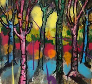 Simon Keenleyside   Sun's around my shoulders   2020   Oil, spray paint on paper   32x38cm