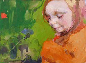 Geraldine Swayne | Son of a Musician Looking at a Flower | 2020 | Enamel on aluminium | 14x19cm (framed 17x22cm)