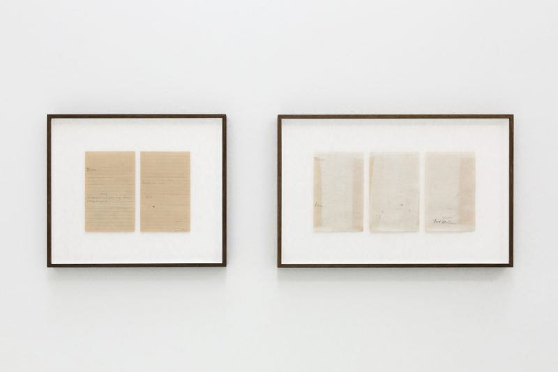 Concha Martínez Barreto   A letter to the son and a letter to the daughter   2020   Erased letters from 1943 (Diptych)   39x45cm and 39x60cm