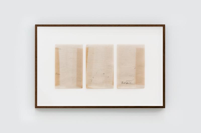 Concha Martínez Barreto   A letter to the son and a letter to the daughter   2020   Erased letters from 1943 (Diptych – right panel)   39x60cm