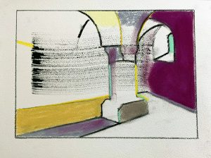Peter Ashton Jones | Domain Eight | 2020 | Indian ink, pastel, charcoal on paper | 28x38cm