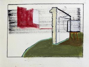 Peter Ashton Jones | The Painters Wall | 2020 | Indian ink, pastel, charcoal on paper | 28x38cm