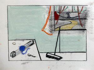 Peter Ashton Jones | The Tape Measure | 2020 | Indian ink, pastel, charcoal on paper | 28x38cm