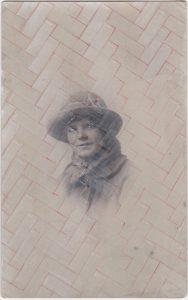 Tom Butler | Stacey | 2020 | Gouache, pencil on vintage photo postcard | 13.6×8.5cm