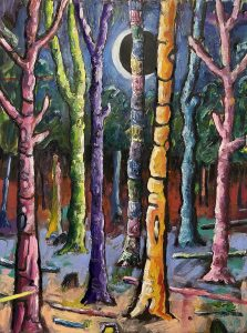 Simon Keenleyside | Woods and moon | 2020 | Oil, acrylic, spray paint on paper | 35x25cm