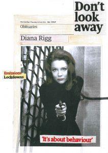 Hugh Mendes | Diana Rigg Don't Look Away | 2020 | Ink, pencil, coloured pencil on digital print | 29.7x21cm