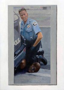 Hugh Mendes | Derek Chauvin: George Floyd (death by knee) | 2020 | Oil on linen | 35x25cm