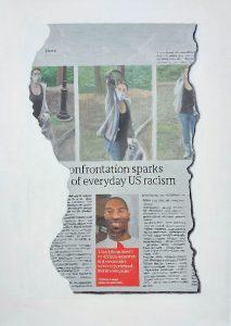 Hugh Mendes | Everyday US Racism | 2020 | Oil on linen | 35x25cm