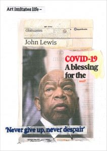 Hugh Mendes | John Lewis: Covid-19 | 2020 | Ink, pencil, coloured pencil on digital print | 29.7x21cm