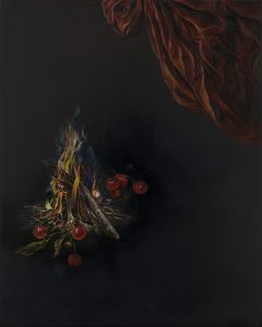 Emma Bennett | All Aflame | 2020 | Oil on oak panel | 25x20cm