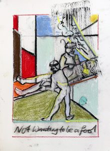 Peter Ashton Jones | Not Wanting To Be A Fool | 2021 | Indian ink, pastel, charcoal on paper | 30x21cm