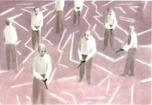Adam Dix | Ley Lines | 2021 | Ink & wax resist on Langton hot press paper | 18x25cm