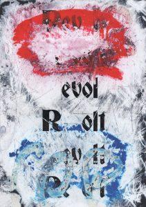 Zavier Ellis | Revolt (Repeat) I (Tricolour) | 2021 | Acrylic, emulsion, spray paint on digital gloss print | 29.7x21cm