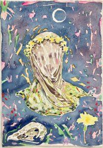 Dominic Shepherd | Spring Equinox | 2021 | Watercolour, oil pastel, oil bar, soft pastel on paper | 30x21cm