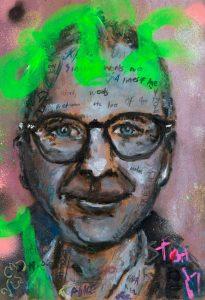 Sam Jackson | Song Words | 2021 | Oil, spray paint, ink, pencil on board | 32×22.5cm
