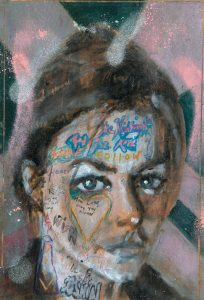 Sam Jackson | The Nightingale and the Rose | 2021 | Oil, spray paint, ink, pencil on board | 32×22.5cm