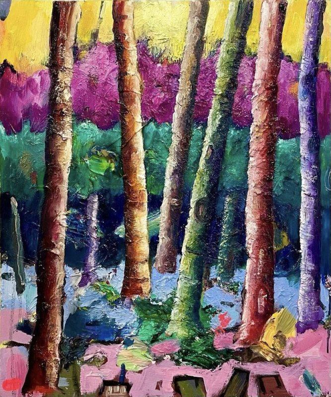 Simon Keenleyside   Yellow stripe with green and purple   2021   Oil on wood panel   30x25cm