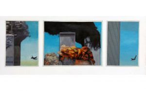 Hugh Mendes | 9/11 Anniversary Triptych | 2008 | Oil on linen | 30x60cm