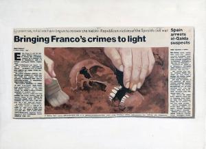 Hugh Mendes | Franco's Crimes | 2002 | Oil on linen | 30x40cm